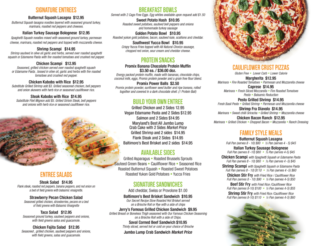 Clean Cuisine Menu - please call us if you need assistance, 443-914-3100.